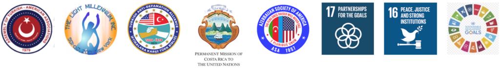 """Downfall of Democracy"" webinar - Combined logos of ATAA, LM, TADA, ASA, Costa Rica Mission, SDG 16, SDG 17 and SDGs"