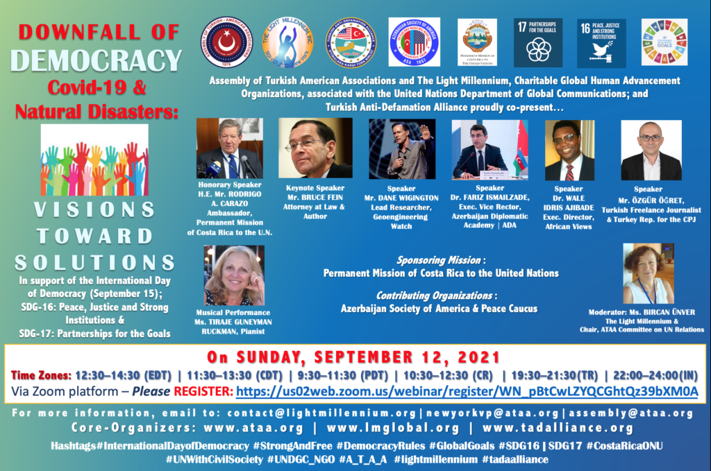 Invitation: Downfall of Democracy - Covid 19 & Natural Disasters: Visions Toward Solutions on Sunday, September 12, 2021 at 12:30 PM (EDT)